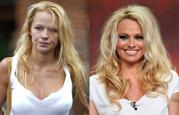 Pamela Anderson with n without makeup