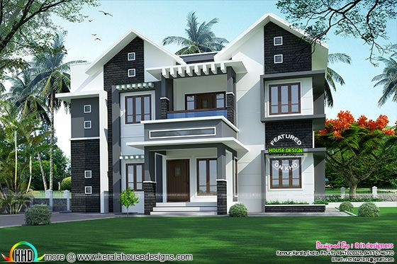 2682 sq-ft modern sloping roof home