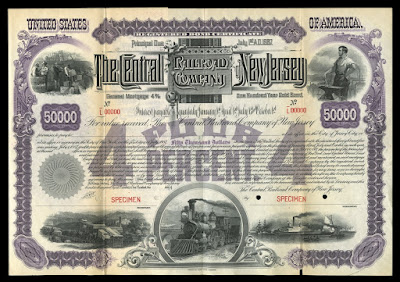 The Central Railroad Company of New Jersey $50,000 General Mortgage 4% 100 Year Gold Bond specimen printed by American Banknote Company