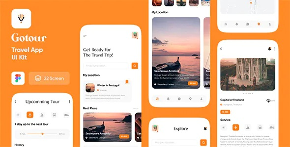Best Travel app UI kit for figma
