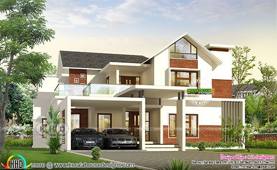 Rendering front view of mixed roof luxury house