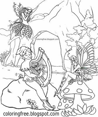 Dublin Irish harp music coloring pages leprechaun and fairy Ireland printables for children to color