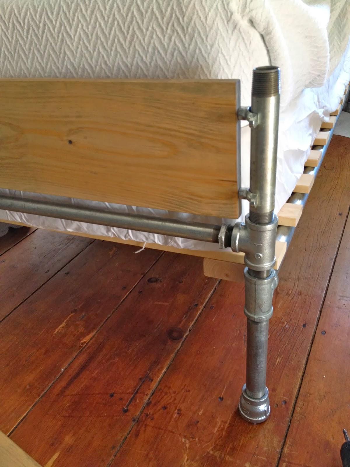 attaching wood slat to pipe leg