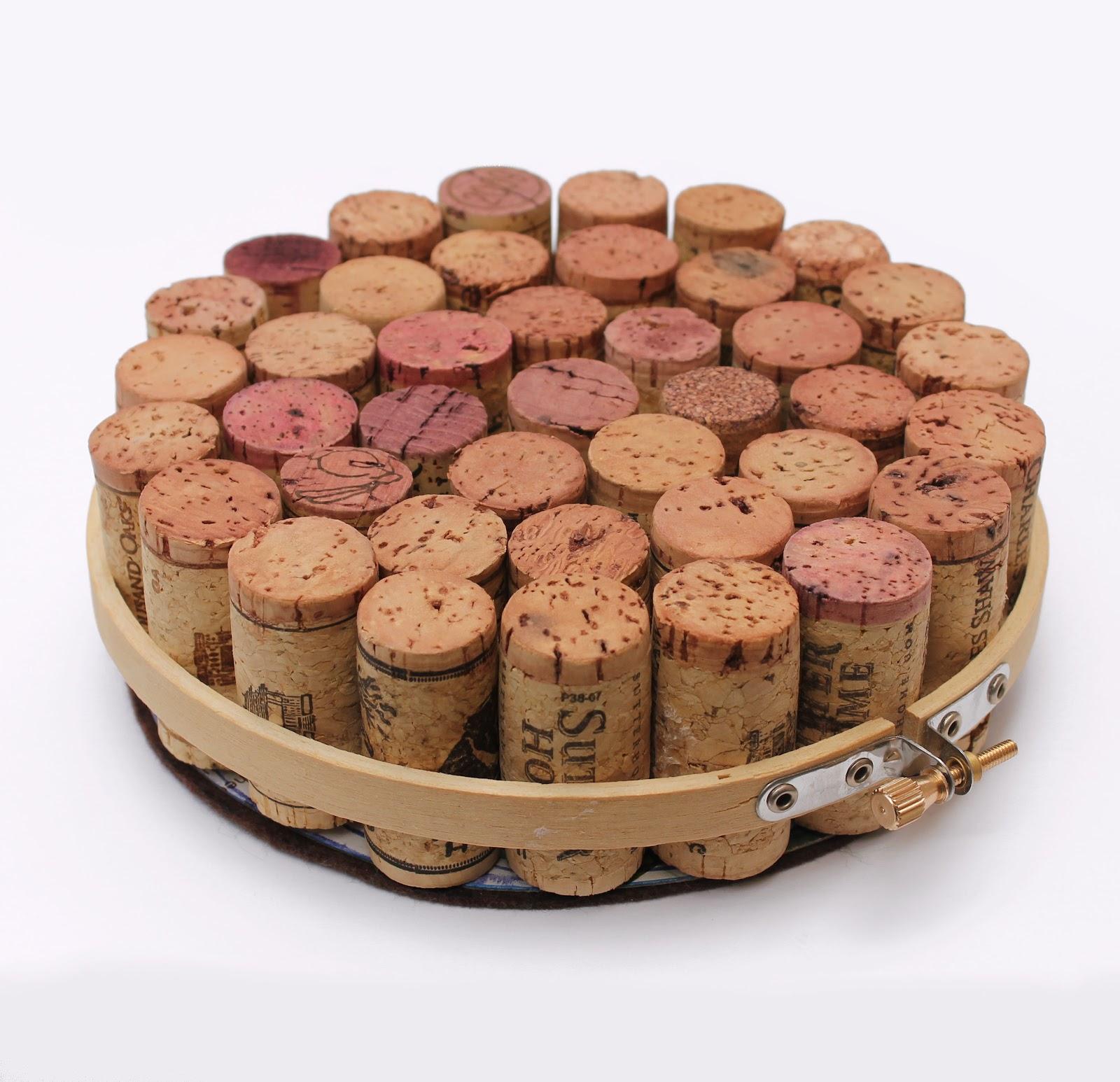 Wine Cork and Embroidery Hoop Trivet