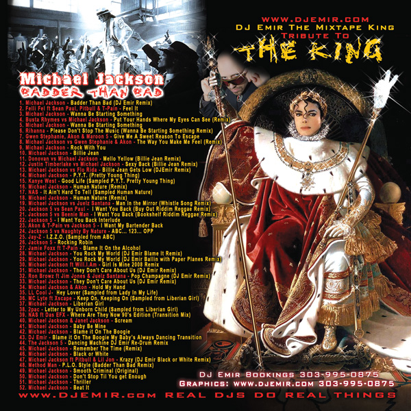 DJ Emir Michael Jackson Mixtape CD Back Cover and Track Listing