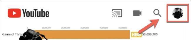 انقر على رمز الحساب في الزاوية العلوية اليمنى للوصول إلى قائمة YouTube