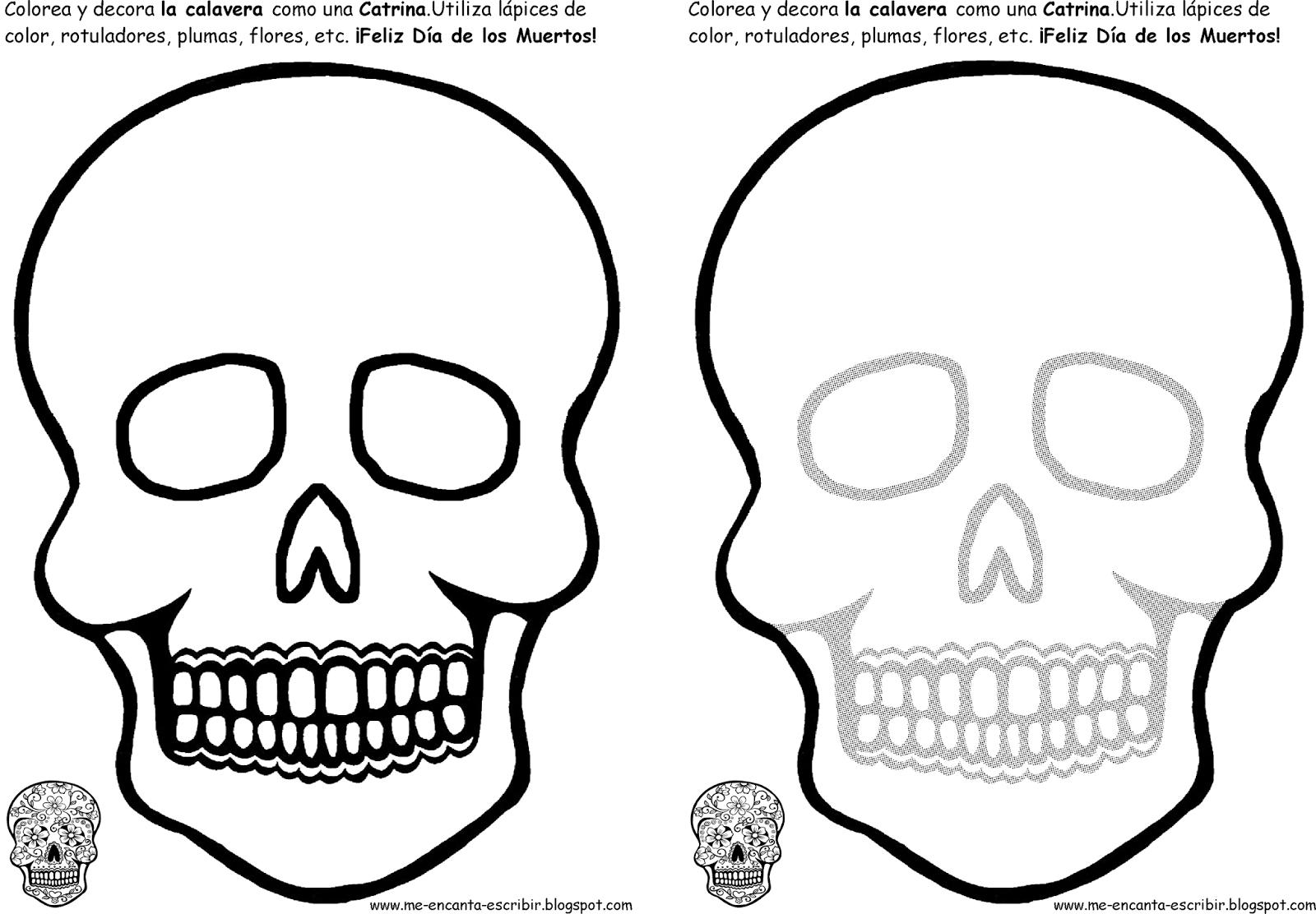 Dibujos De Calaveras Bonitas Para Colorear: Dibujos Para Colorear De Calaveras Imagenes Sketch