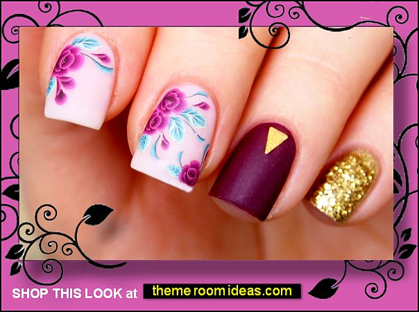 Purple flowers nail water decal Floral nail sticker Flowers for nails