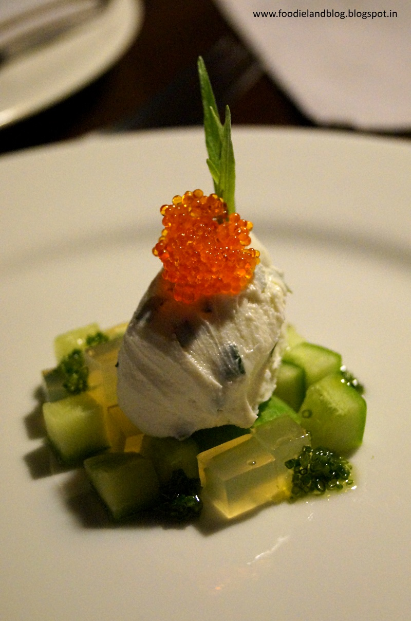 Diced cucumber with cream cheese and flying fish eggs @ A Romantic Dining Experience @ Grasshopper | Bangalore