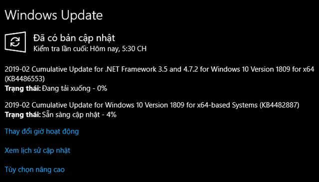 Bản cập nhật tháng 3, 2019 - KB4482887 cho Windows 10 version 1809