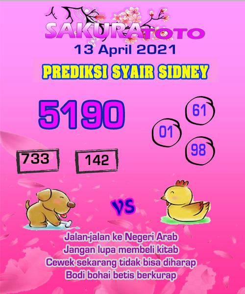 Syair Sakuratoto Sidney Selasa 13 April 2021