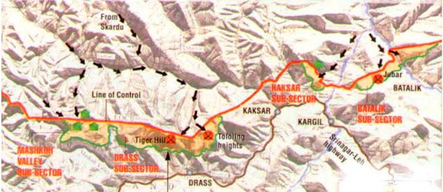 Pakistan bombed NH1A (Map), Kargil Vijay Diwas, Kargil Vijay Divas Picture
