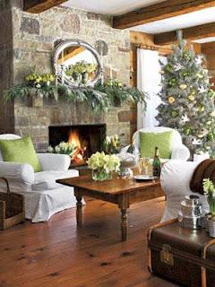 sala navideña verde blanco