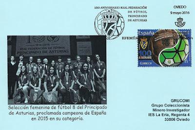 Primer Día de Circulación del sello del Centenario de la Real Federación de Fútbol del Principado de Asturias