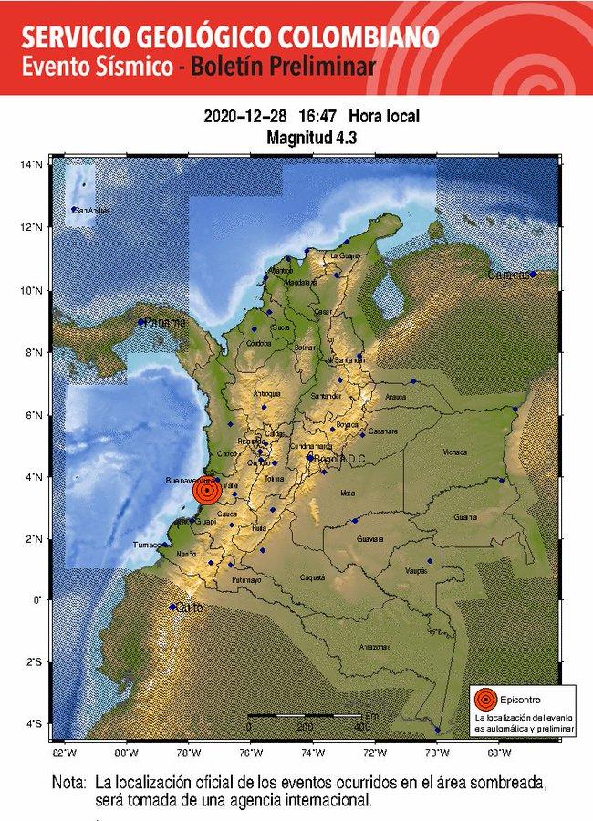 Colombia: reportan un movimiento  telúrico de 4.3 de magnitud
