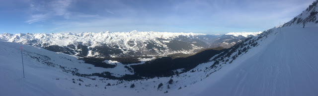 A panoramic shot of Boulevard de la Loze in Meribel