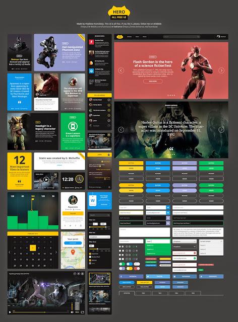 Hero Flat UI Kit PSD