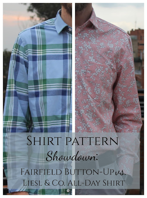 Men's shirt pattern comparison: the Liesl & Co. All-Day Shirt vs. the Thread Theory Fairfield Button-Up.