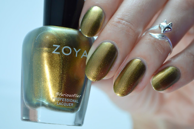 zoya aggie swatch gold metallic midi ring furious filer