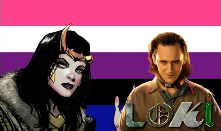 Imagem de capa: fundo com a bandeira do orgulho gênero fluído, uma faixa rosa-claro, uma branca, uma roxa, uma preta e uma azul-anil, pela direita, uma ilustração dos quadrinhos da personagem Lady Loki, uma mulher de cabelos pretos, com uma tiara de ouro com um par de chifres, um deles quebrado e roupas verdes e pretas e na esquerda, o personagem Loki, interpretado por Tom Hiddleston, um homem branco com cabelos pretos longos que chegam aos seus ombros, em um uniforme de prisioneiro de cor bege com detalhes vermelhos e a logo da série Loki, as quatro letras em fontes diferentes em verde e dourado.