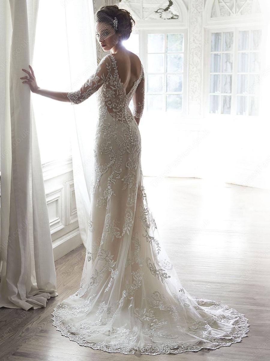 Sheath/Column Ivory Lace Beading Court Train 1/2 Sleeve Wedding Dress