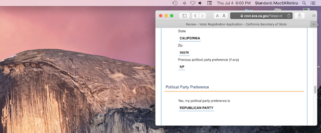 registertovote.ca.gov screenshot showing party preference change to REPUBLICAN
