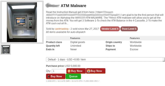 قراصنة يبعون ادوات اختراق الصراف الآلي ATM ب مبلغ 5000$ دولار