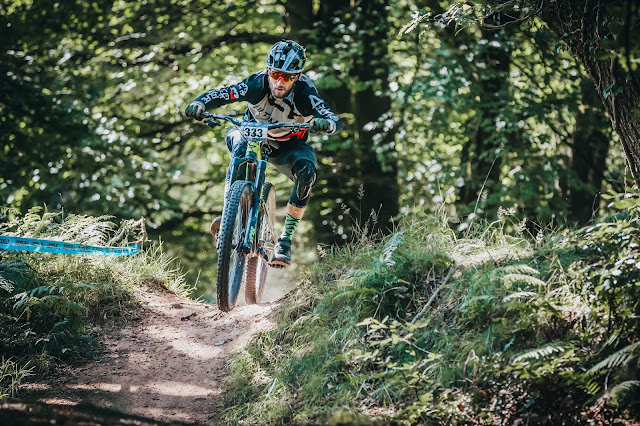 Oli Carter keeping it pinned on an enduro stage