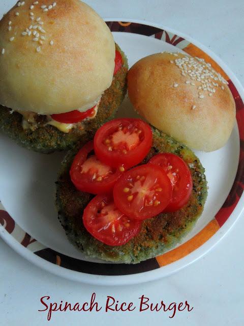 Rice & Spinach Burger, Palak Burger, Spinach Burger