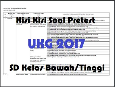 Kisi Kisi Soal Pretest UKG SD Kelas Tinggi 2017