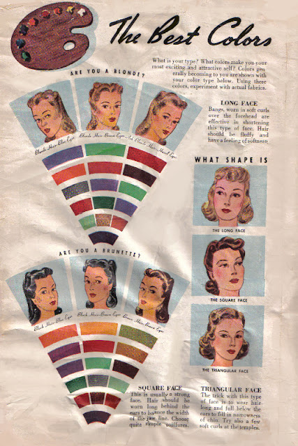 1940s makeup colors and best hairstyles for your face shape via Va-Voom Vintage