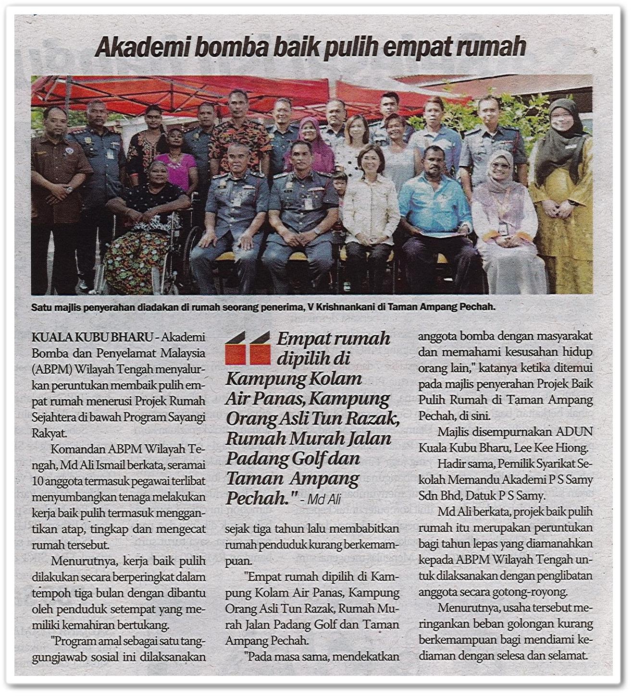 Akademi bomba baik pulih empat rumah - Keratan akhbar Sinar Harian 4 Mac 2019