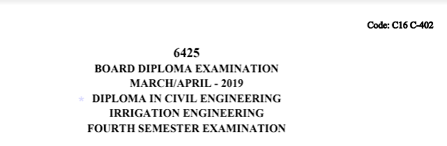 Sbtet Diploma Irrigation Engineering Previous Question Paper c16 civil March/April 2019
