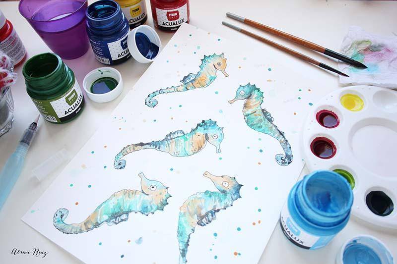 Ilustración caballitos de mar