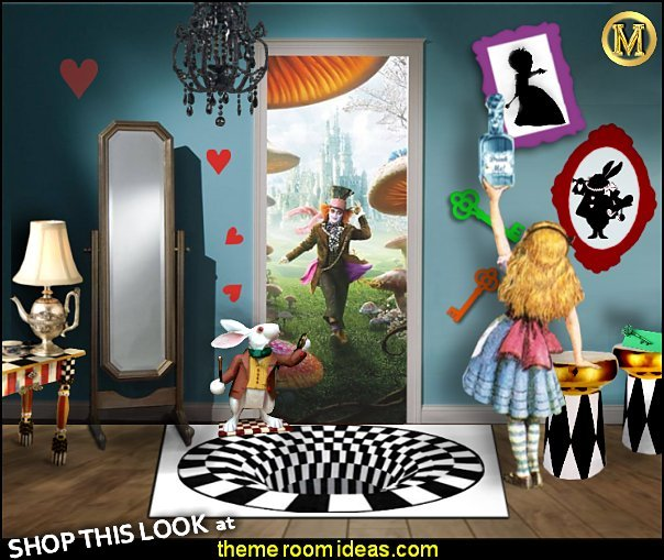 Alice In Wonderland Mad Hatters Tea Party Door Mural  3D Carpets Optical Illusion  White Rabbit with pocket watch  Whimsical Striped Nightstands  alice in wonderland furniture alice in wonderland teapot table lamp