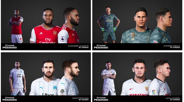 PES 2020 Ocampos, Lacazette, Areola and Strootman Face by Owen31