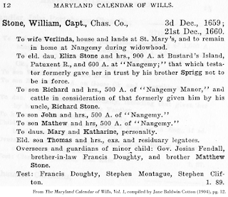 Capt. William Stone will, from From The Maryland Calendar of Wills, Vol. 1, compiled by Jane Baldwin Cotton (1904), pg. 12.