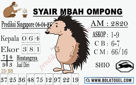 Syair Mbah Ompong SGP Minggu 04-Apr-2021