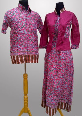 Model Gamis Batik Kombinasi Blazer couple