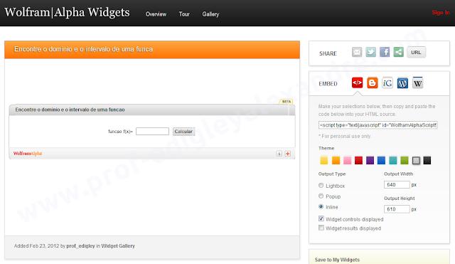 Encontre o domínio e o intervalo de funções matemáticas com este widget