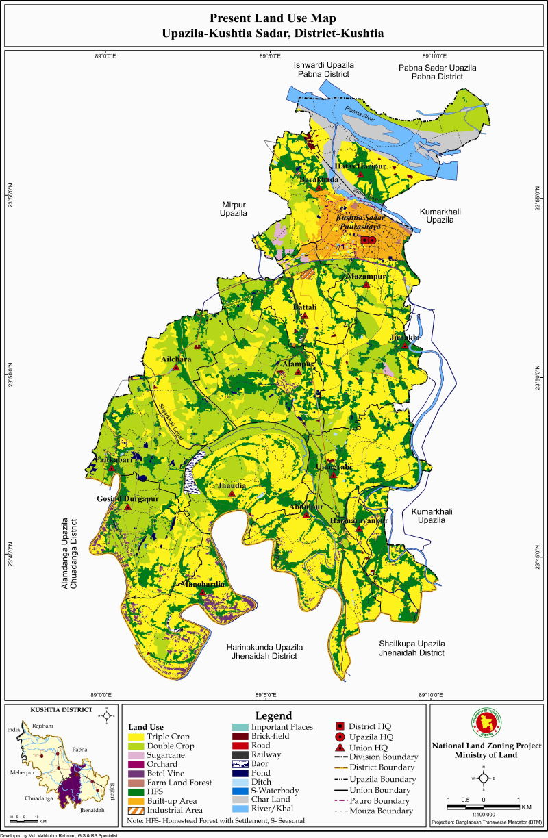 Kushtia Sadar Upazila Mouza Map Kushtia District Bangladesh