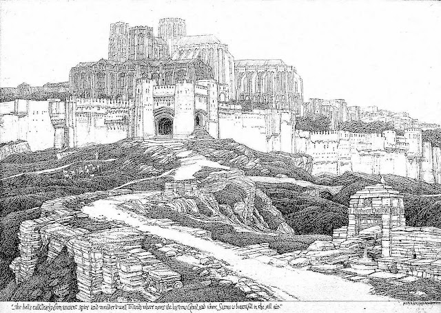 an F.L. Griggs pen drawing of ancient stone ruins