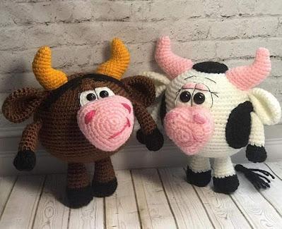 Бык Муля и корова Муня крючком