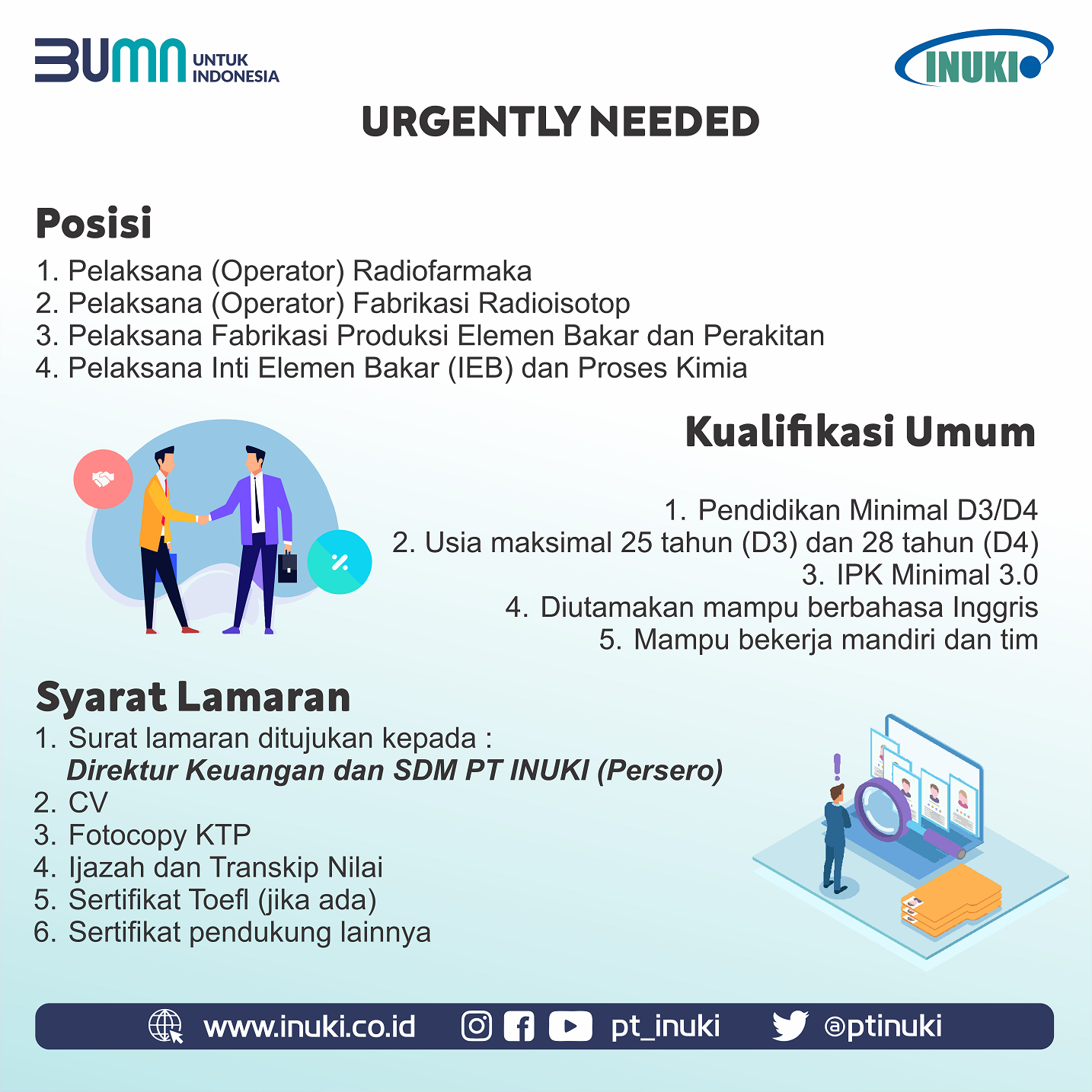 Lowongan Kerja BUMN PT Industri Nuklir Indonesia (Persero) Bulan Agustus 2020