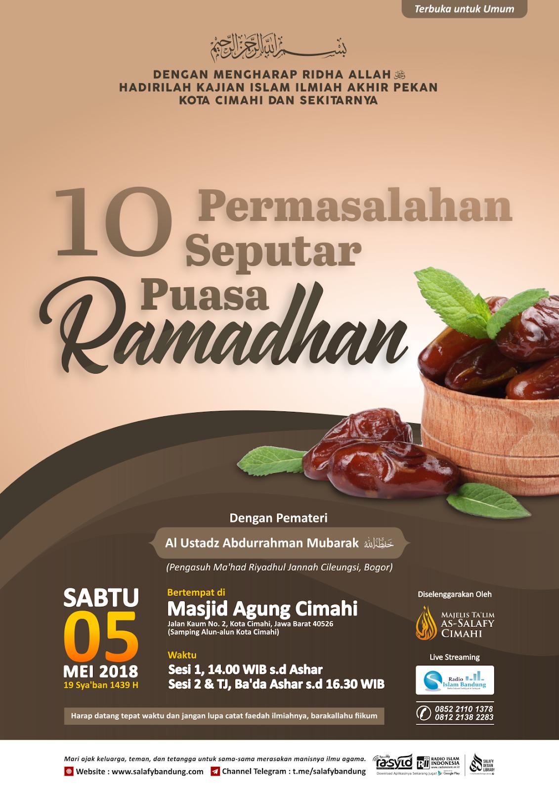 Kajian Masjid Agung Cimahi: 10 Permasalahan Seputar Puasa Ramadhan