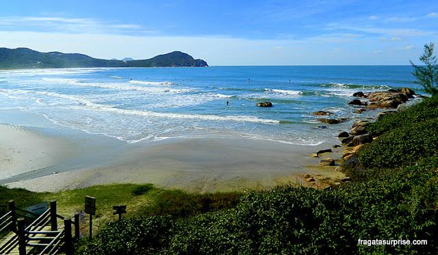 Praia do Rosa vista de um mirante no canto Sul