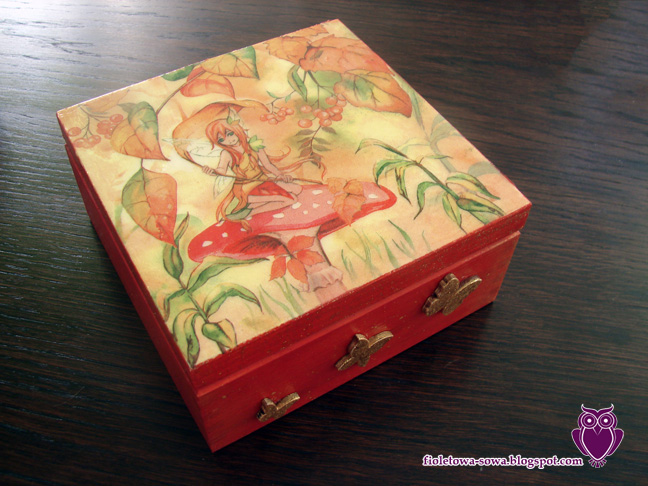 Autmn fairy decoupage chest