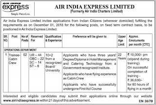 Air India Express Trainee Cabin Crew Recruitment 86 Govt Jobs Online Notification 2018