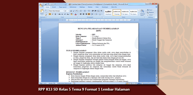 RPP K13 SD Kelas 5 Tema 9 Format 1 Lembar Halaman