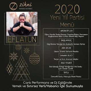 Zihni Bar Nişantaşı İstanbul Yılbaşı Programı 2020 Menüsü